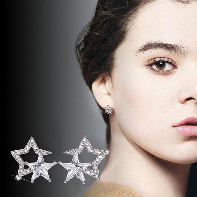 Fashion AAA Cubic Zircon CZ Double Star Stud Earrings For Women Girls Silver Color Earrings Party Jewelry Drop Shipping