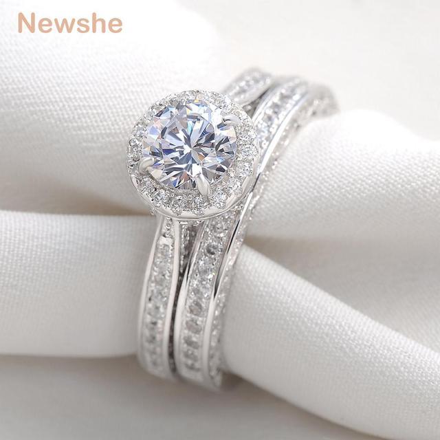 Newshe 24 Carats Round Cut CZ Rhodium Plated Wedding Ring Set Engagement Band Fashion Jewelry For