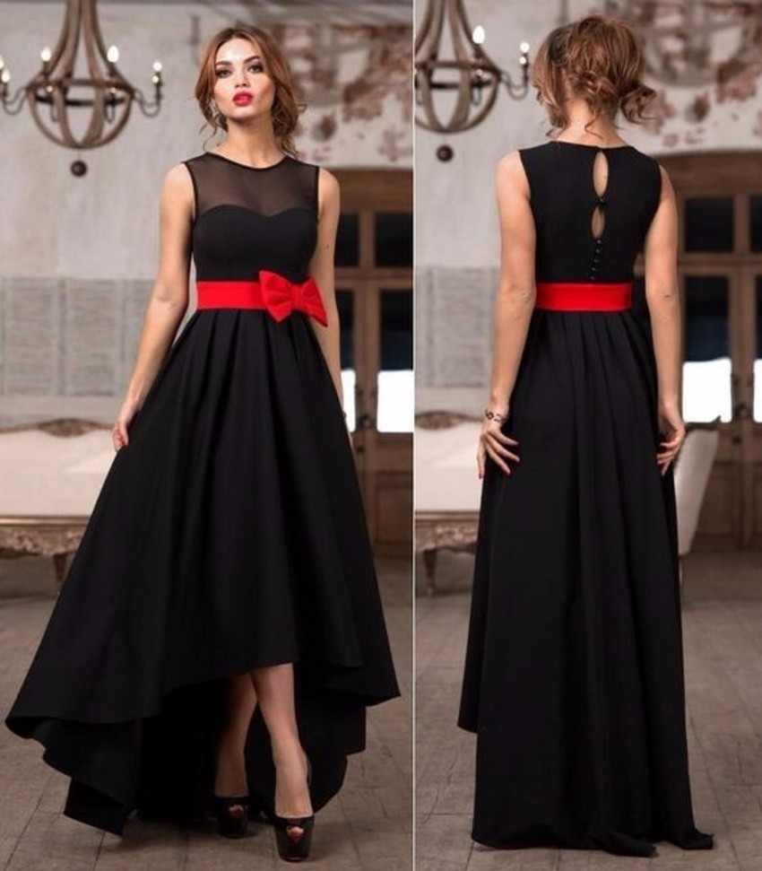 Robe De Soiree 2016 Black Prom Dresses Simple Red Sashes High Low ...