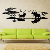 אמנות עיצוב סוואנה סקייליין ויניל קישוט הבית זול פילים אריות נופים מדבקת הבית ויניל דקור קיר ציפורים מדבקות