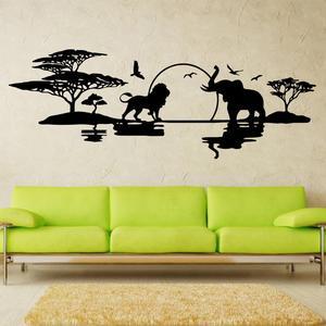 Art design savannah panoramę tanie dekoracje do domu winylu słonie lwy ptaki naklejki ścienne winylu wystrój domu krajobrazy naklejka