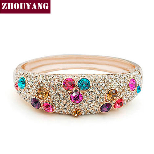 ZHOUYANG ZYB004 Ball Multicolour Crystal Rose Gold Color Bangle Jewelry Made with Genuine Austrian Crystals Wholesale