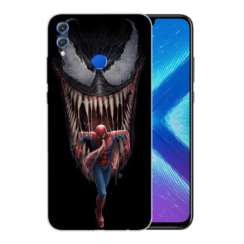 Soft TPU Print Hull Case For Huawei Honor V20 8X 7 8 9 10 lite 7X 8A V9 V9 Play Frosted Fundas Cover Venom Marvel in Fitted Cases from Cellphones Telecommunications