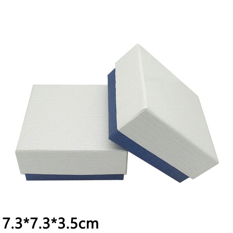 7 3 7 3 3 5 Cm Bijoux Emballage Blanc Couverture Bleu De Fond