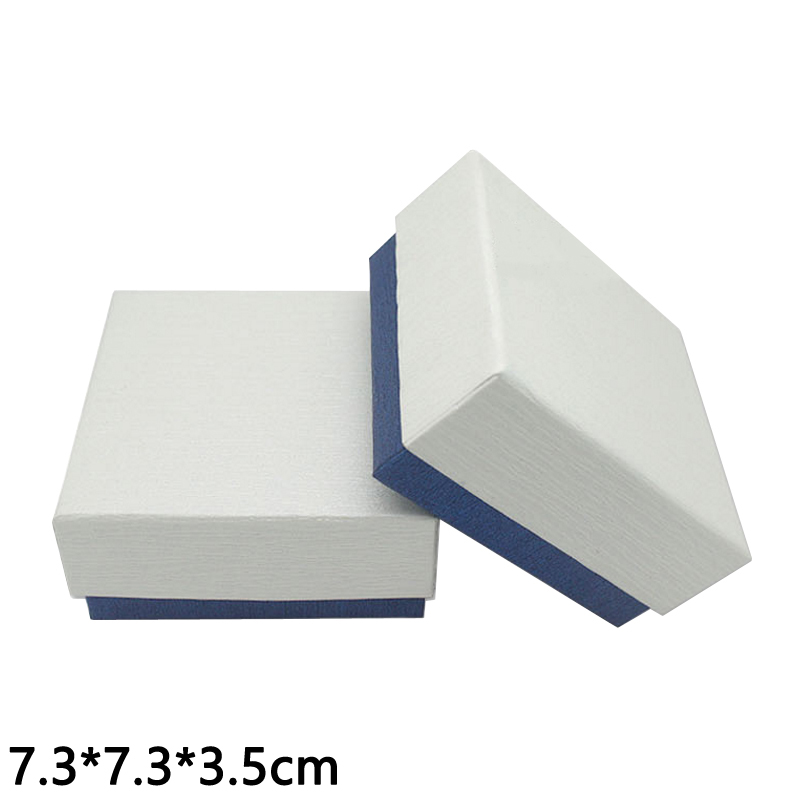 7.3*7.3*3.5cm jewelry packaging white cover blue bottom carrying storage boxes pink gift box for ring paper box 10 pieces/Lot