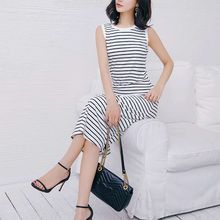 Simple Striped Vest Summer Dress O Neck Fit And Flare Long Dress Plus Size  Sleeveless Dress Female Casual Vestido Black White все цены