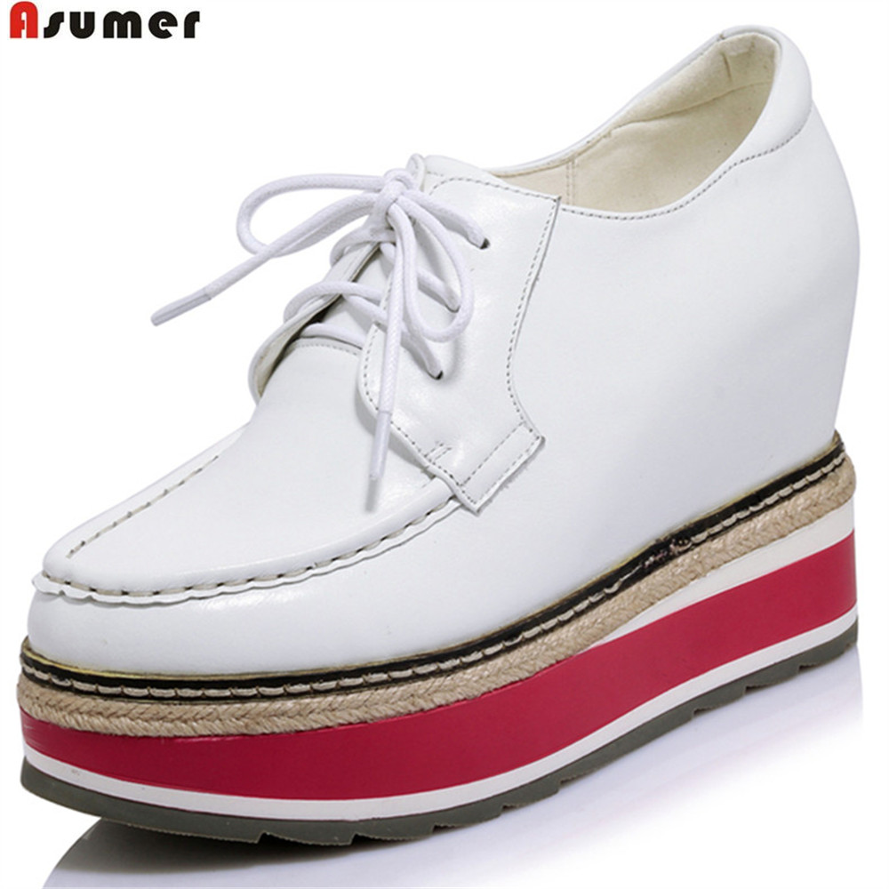 ASUMER black white round toe ladies high heels shoes platform wedges spring autumn shoes woman genuine leather shoes asumer pink silvery round toe lace up spring autumn ladies single shoes platform women genuine leather high heels shoes
