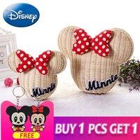 Disney Minnie Mouse Handmade Rattan New Cartoon Mickey Women Purse Lovely Girl Straw Backpack Vintage Casual Bucket