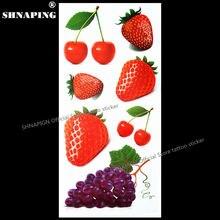 SHNAPIGN Cherry Strawberry 3D Temporary Tattoo Body Art Flash Tattoo Stickers 19x9cm Waterproof Styling Tatoo Home Decor Sticker