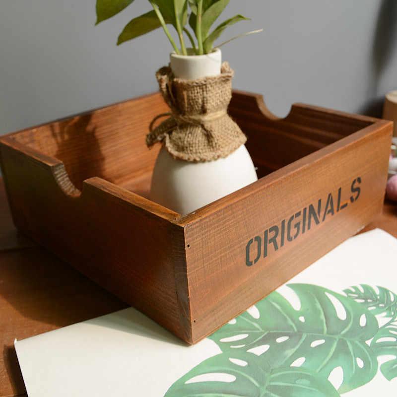 Retro ไม้ตกแต่งบ้านกล่องเก็บผลิตจากไม้ตกแต่งบ้านหม้อขนาดเล็กแจกัน