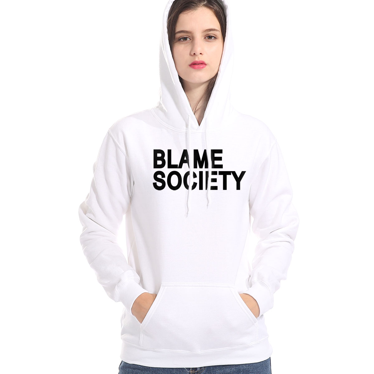 New Women's Sweatshirt Print BLAME SOCIETY Casual Hoodies 2019 Winter Warm Hot Female Pullover Fleece Hoodies Harajuku Tracksuit
