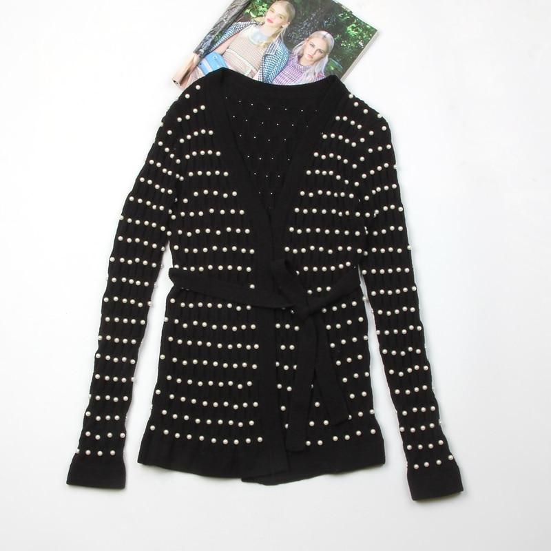 Stand Cravate Perlé Perle En De Luxe Pull Noir Section Européenne Taille Tricot Longue Cardigan Lourd 1 bfgI76yYv