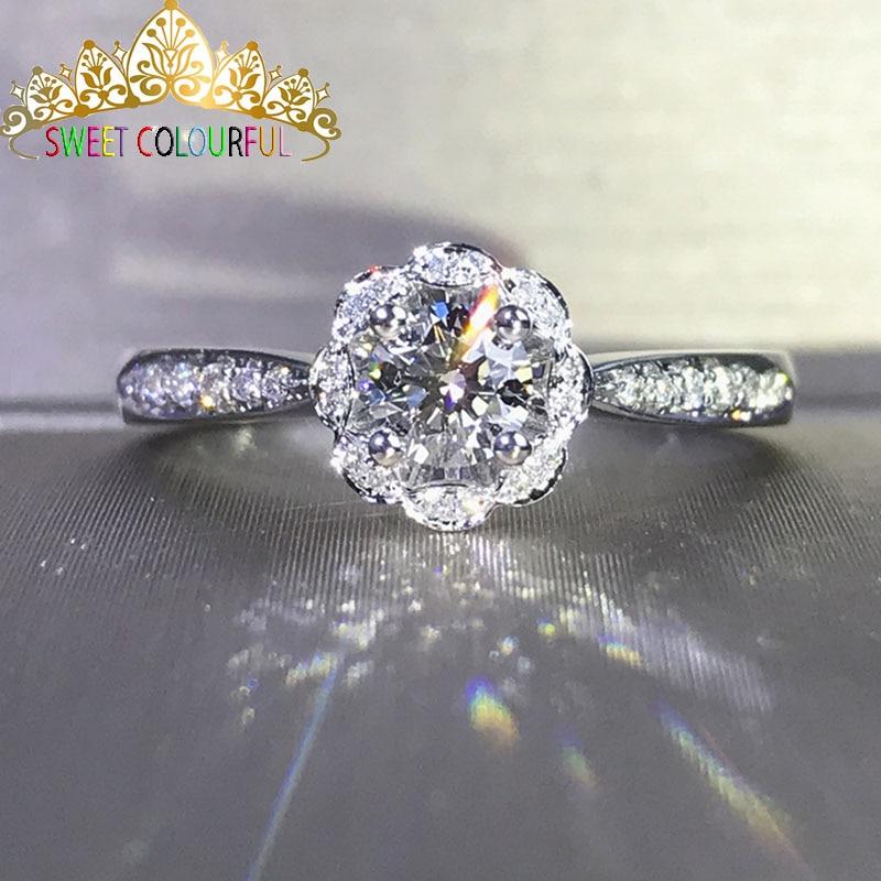 웨딩 100% moissanite 다이아몬드 반지 정품 18 k 750 골드 d 컬러 vvs mo 0013-에서반지부터 쥬얼리 및 액세서리 의  그룹 1