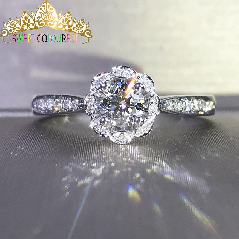 Boda 100% Moissanite diamante anillo genuino 18 K 750 oro D color VVS MO 0013-in Anillos from Joyería y accesorios    1