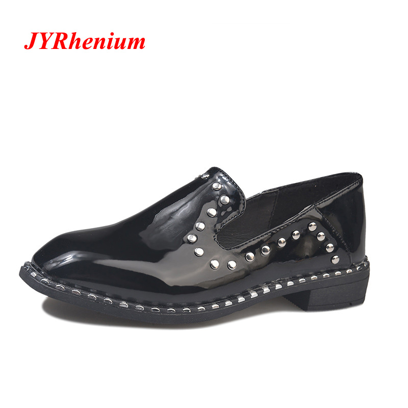 JYRhenium 2018 New Arrival Women Shoes Leather Oxford Shoes For Women Flats Shoes Woman Ballet Flats Zapatos Mujer Big Size 40 tangnest new embroider women flats casual flower printed ballet flats solid pu leather leisure shoes woman size 35 40 xwc1233