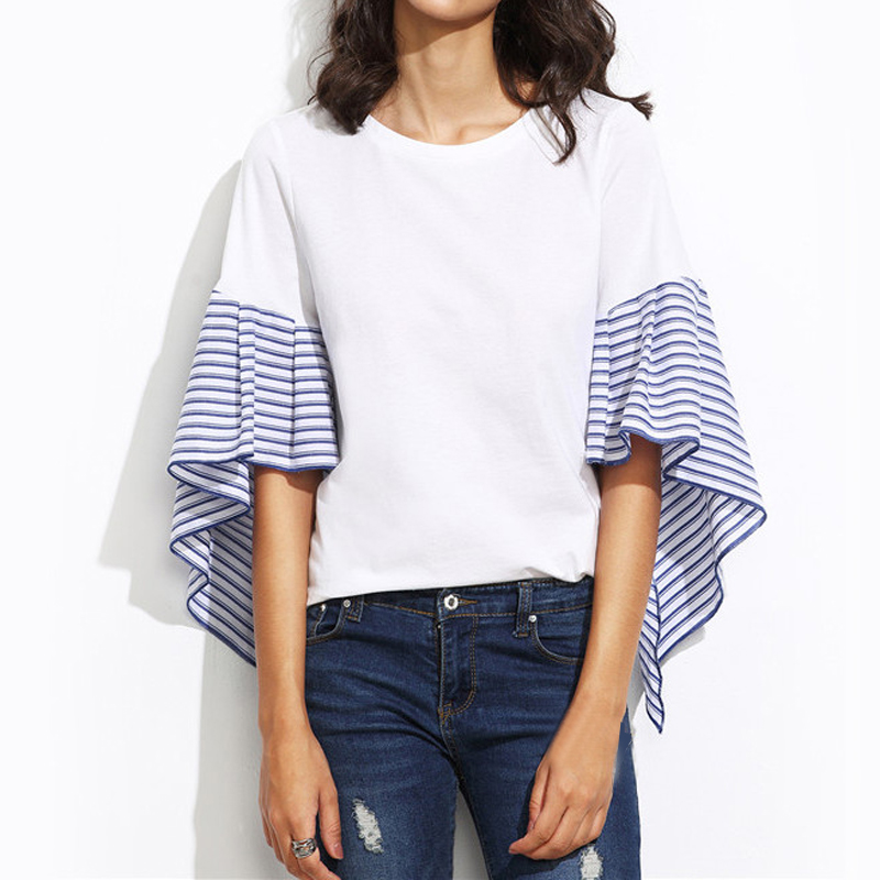 d2026d043d TANGNEST Fashion Flare Sleeve T shirt Oversized Loose Tshirt for Women  Striped Patchwork Tee shirts White Summer Tops WTS1315-in T-Shirts from  Women's ...