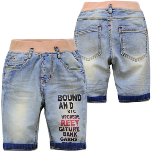 4031 pantalones vaqueros del verano del bebé boy pantalones vaqueros de mezclilla suave 70% longitud pantorrilla bebé pantalones vaqueros de color azul claro muy agradable de moda fresca del bebé 0-4 años