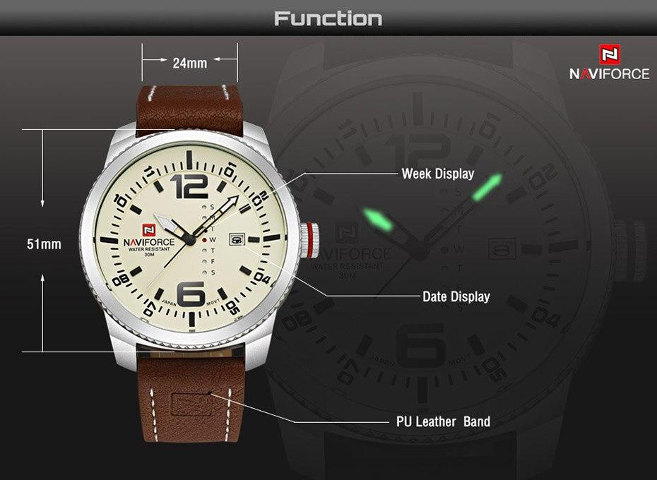 2019 Top Luxury Brand NAVIFORCE Men Military Sports Watches Men's Quartz Date Clock Man Leather Wrist Watch Relogio Masculino