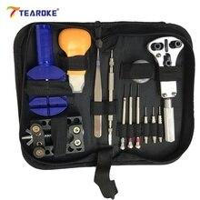 TEAROKE 13 pcs Montre Repair Tool Kit Set Montre D'ouvreur de Cas Lien Printemps Bar Remover Tournevis Horloger pour Remplacer La Batterie