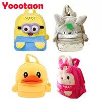 Big size 35 cm Pluche Rugzakken speelgoed Konijn Totoro/Gele eend/Minions school Rugzak voor kinderen gift knuffel