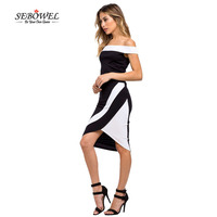Black And White Patchwork Off Shoulder Strapless Two Piece Outfit 2016 New Hot Selling Elegant And