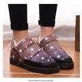 Mujeres 2016 de invierno nuevo anuncio botas de nieve patrón de estrella caliente par plana zapato de goma, además de terciopelo grueso cálidos a prueba de agua