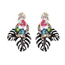 Best lady Fashion Bohemian Wedding Leaf and Flower Drop Earrings Jewelry Earrings for Women Luxury Colorful Big Pendant Earring