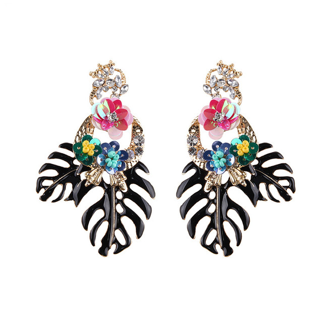Fashion Bohemian Wedding Leaf and Flower Drop Earrings Jewelry Earrings for Women Luxury Colorful Big Pendant Earring
