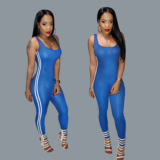 Fashion rompers womens jumpsuit 2016 new autumn wild 2 Colour sleeveless v-neck backless skinny bodycon jumpsuit