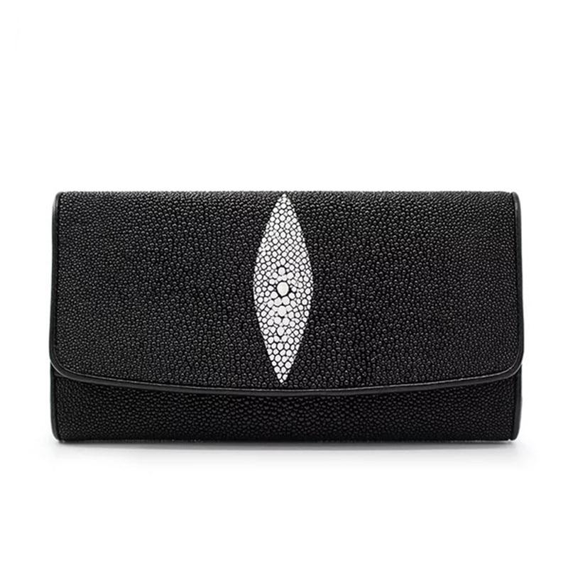 Men Bifold Stingray Genuine Leather Wallet Basic Style Super Black Color