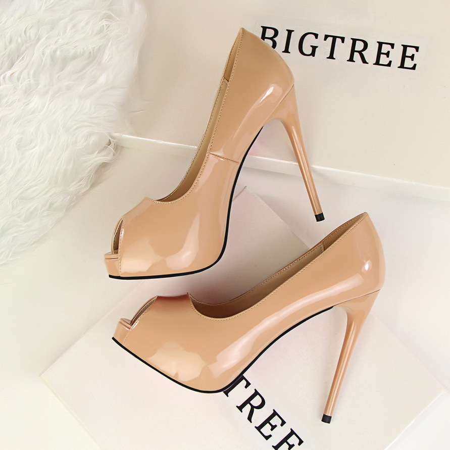 2017 New Women Summer Pumps Fashion Patent Leather Slim Sexy High-heeled Shoes Thin Heeled Open Toe Shallow Sandals G1675-1