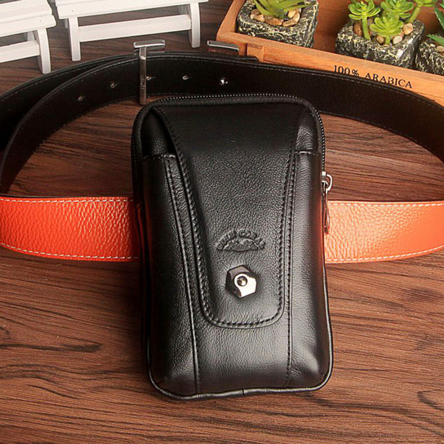 New 100% Genuine Leather Trend Men Fanny Waist Bag New Military Travel Men Cell/Mobile Phone Case Coin Purse Belt Bum Pouch Pack