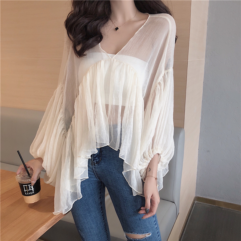 2018 Summer New Women Sexy Careful Machine Back Hollow Sunscreen Shirt Blouses & Shirts
