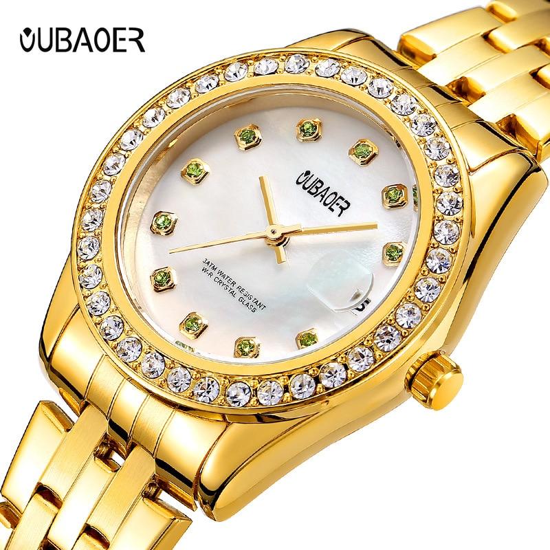 Relógio de Quartzo Relógio de Aço Relógio Feminino Moda Casual Pulseira Pérola Concha Analógico Inoxidável Presente