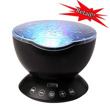 Starry Sky Remote Control Ocean Wave Projector Built-in Mini Music Player Novelty 7 Color Changing LED Romantic Night Light(China)