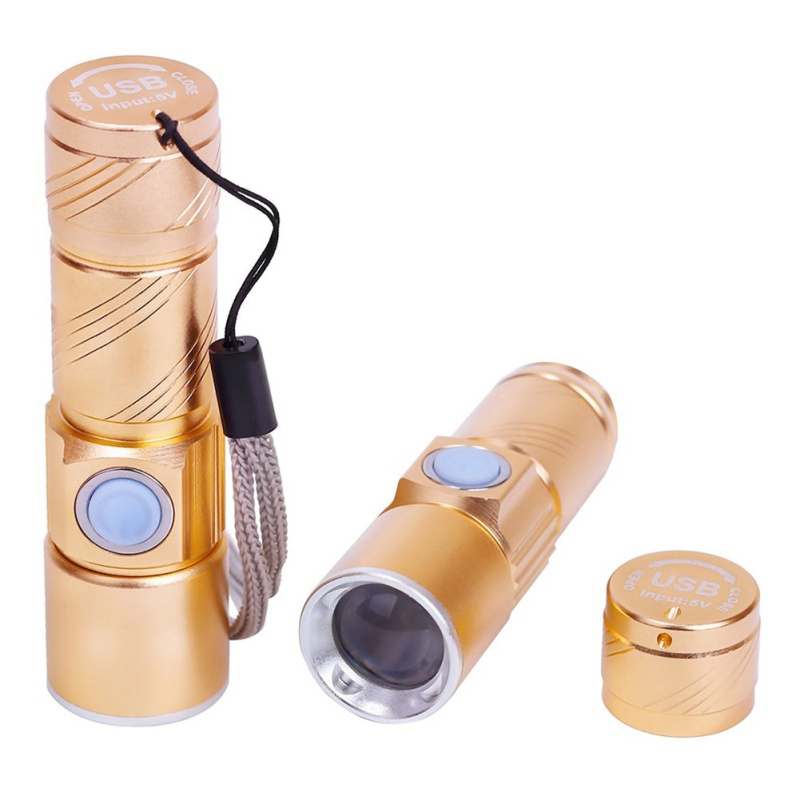 Camping Light USB Handy Powerful LED Flashlight Rechargeable Torch Flash Light Bike Pocket LED Zoomable Lamp For Hunting Black usb rechargeable led flashlight zoomable lamp high quality powerful led torch waterproof hanging camping lanterns light with usb