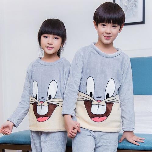 New Listing Childrens Christmas gift girls sleepwear 2 pcs long sleeve cartoon pajamas suit Flannel Kids Clothing Sets