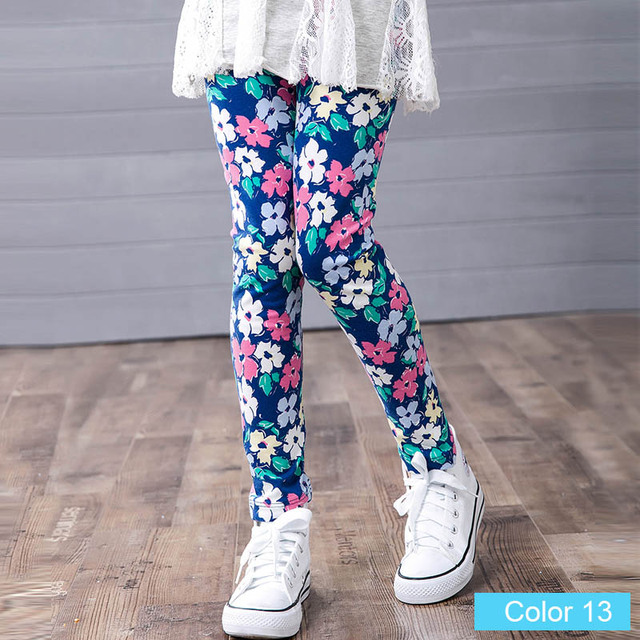 9062fb3b27deb girl pants new arrive printing Flower girls leggings Toddler Classic ...