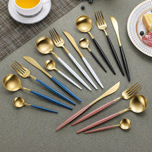 16Pcs 304 Stainless Steel Cutlery Set Dinner Knife Forks Tea Spoons Black Gold Dinnerware Colorful Utensils Kitchen Tools