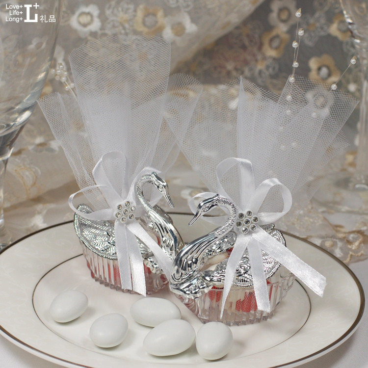Gift-Box Swan Decorate Candy-Boxes Wedding-Favor Silver Plain Pear Hot 300set