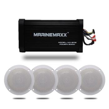 500W 4 Channels Marine Bluetooth Boat Motorcycle Car Amplifier Audio Stereo System 4 Inch 160W Marine Waterproof White Speakers