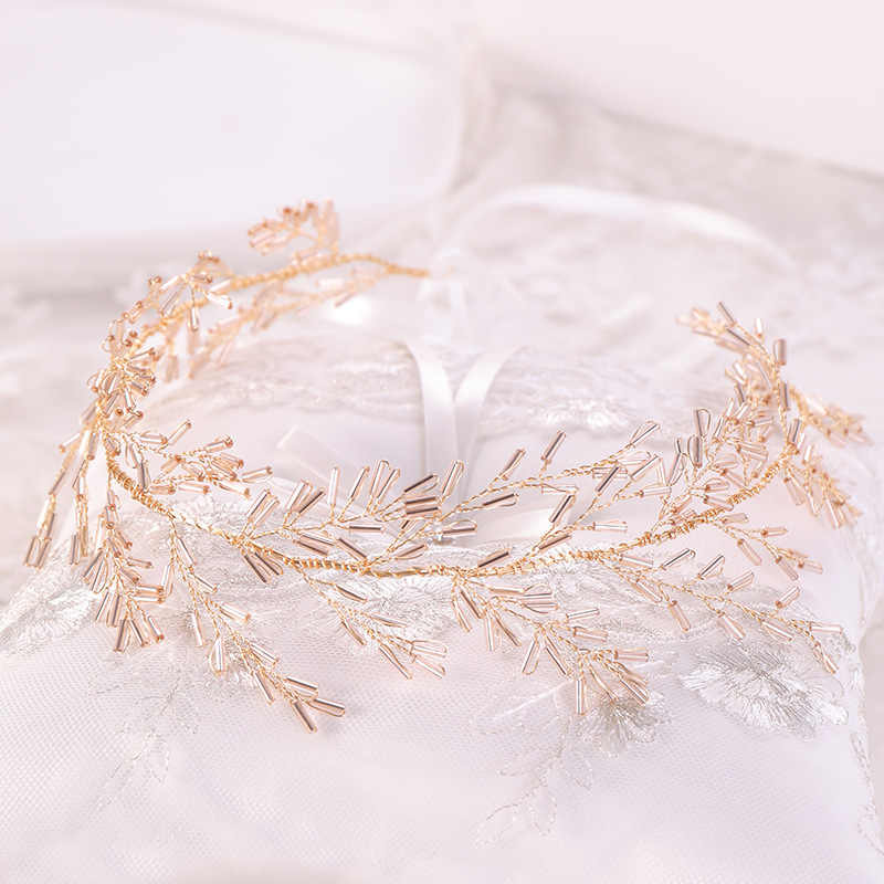 New Silver Gold Crystal Bead Hairbands Women Tiaras Crown Wedding Ribbon Headband Bridal Hair Piece For Prom Pageant Accessories