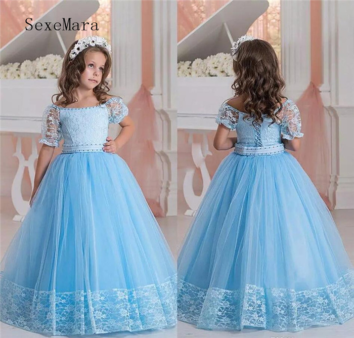 Light Blue Flower Girls Dresses Off Shoulder Short Sleeves Lace Kids Party Dress Formal Wear Lace Up Girls Pageant Gown wine red lace up details off shoulder lantern sleeves mini dress