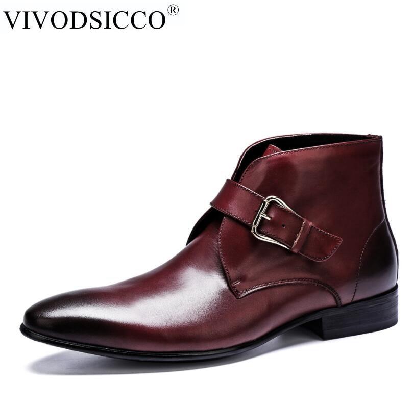 VIVODSICCO New Arrival Men Ankle Boots Dress Men's Shoes High Quality Fashion Chelsea Boots Autumn Soft Leather Casual Shoes