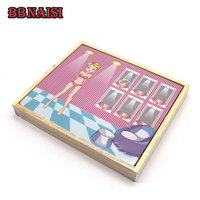 Magnet Tangram Girl Dressing Jigsaw Toy Set Ethnic Clothing Changing Wooden Toy Set Educational Toy For Kids Children