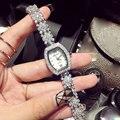 Известная марка стразы кристалл мода женщины серебряные часы из нержавеющей стали женские кварцевые наручные часы relógio feminino