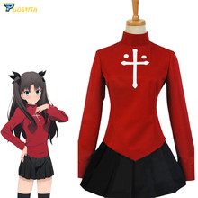 Anime Fate/Stay Night Rin Tohsaka Uniform Dress Cosplay Costume Halloween Custom Made with Headwear Scoks Necklace custom made anime phoenix wright ryuichi naruhodo dress fashion uniform cosply costume shirt coat pants