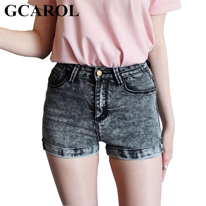 GCAROL Kvinner Euro Stil Høy Midje Denim Shorts Strekk Casual Basic Jeans Shorts Høy Kvalitet Shorts For Summer Spring Autumn