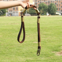 Brown Genuine Leather Dog Leash Sturdy and Durable for Medium and Large Dogs