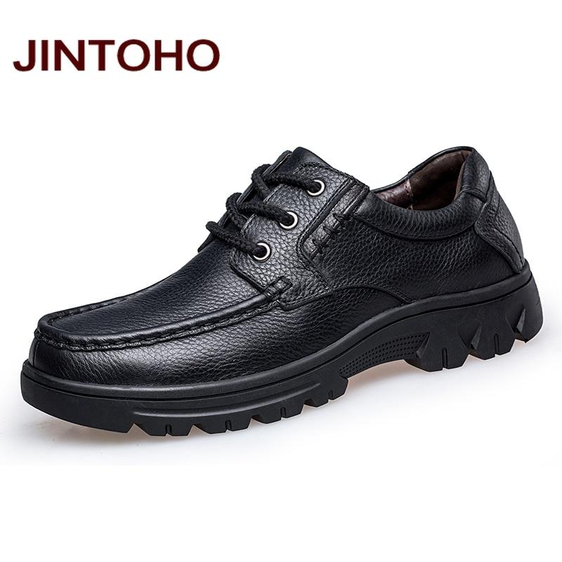 JINTOHO High Quality Genuine Leather Men Flats Shoes Fashion Men Dress Italian Leather Shoes Formal Mens